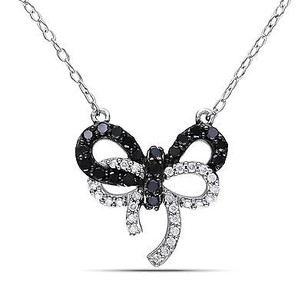 Amour Sterling Silver 13 Ct Tdw Black White Diamond Bow Pendant Necklace 18