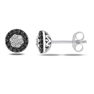 Amour Sterling Silver 14 Ct Tdw Black And White Diamond Halo Stud Earringsg-h I2-i3