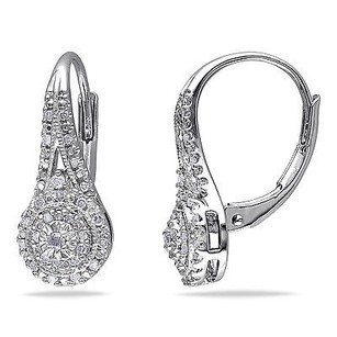 Amour Sterling Silver 14 Ct Tdw Diamond Drop Dangle Leverback Earrings H-i I3