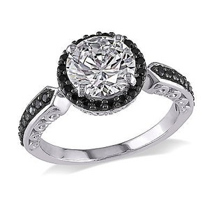 Amour Sterling Silver 16 Ct Tgw White And Black Cubic Zirconia Engagement Ring