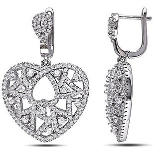 Amour Sterling Silver 3.048 Ct Cubic Zirconia Heart Love Fashion Leverback Earrings
