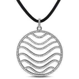 Amour Sterling Silver 3.255 Ct Cubic Zirconia Wave Circle Pendant
