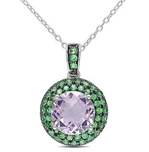 Amour Sterling Silver 35 Ct Tgw Rose De France And Tsavorite Pendant Necklace 18