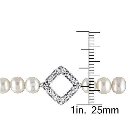 Amour Sterling Silver 5-6 Mm Freshwater Off Round Pearl And Cubic Zirconia Bracelet
