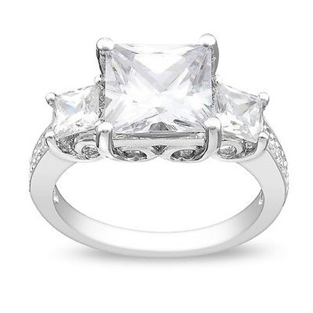 Amour Sterling Silver 58 Ct Tgw White Cubic Zirconia Engagement Ring