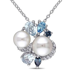 Amour Sterling Silver 6.5-8 Mm Pearl Blue Topaz Sapphire Pendant Necklace 18