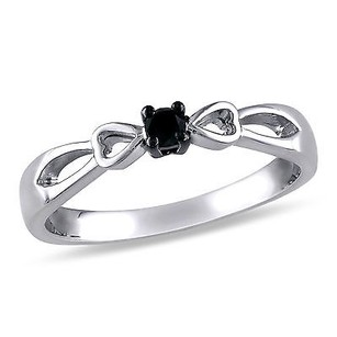 Amour Sterling Silver Black Diamond Round Cut Promise Heart Bow Fashion Ring 110 Ct
