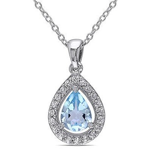 Amour Sterling Silver Blue Topaz And Created White Sapphire Pendant Necklace 18