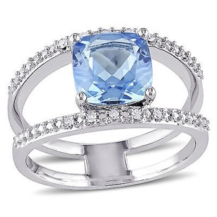 Amour Sterling Silver Blue Topaz And Diamond Accent Cocktail Ring