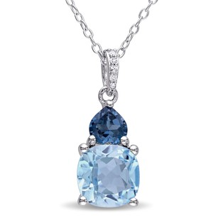 Amour Sterling Silver Blue Topaz And Diamond-accent Pendant Necklace 18