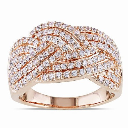 Amour Sterling Silver Braided Crossover Ring With Cz 1 110 Ct Covered In Rose Gold