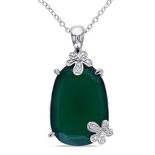 Amour Sterling Silver Chalcedony 110 Ct Tdw Diamond Pendant Necklace G-h I1-i2 18