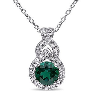 Amour Sterling Silver Created Emerald And White Sapphire Drop Pendant Necklace 18