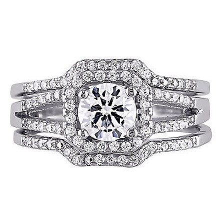 Amour Sterling Silver Cubic Zirconia 3-pc Engagement Promise Vintage Bridal Ring Set