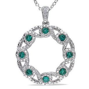 Amour Sterling Silver Diamond And Simulated Emerald Crossover Swivel Pendant Necklace