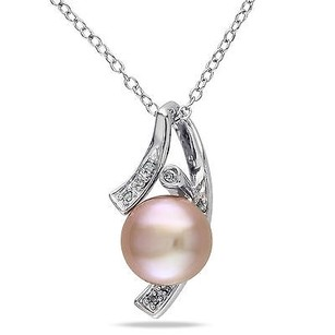 Amour Sterling Silver Freshwater Pearl Accent Diamond Pendant 0.04 Ct G-h I3 18