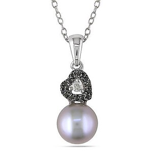 Amour Sterling Silver Pearl 110 Ct Tdw Diamond Heart Pendant Necklace G-h I2-i3 18