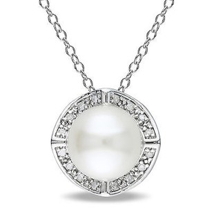 Amour Sterling Silver Pearl And Diamond Accent Pendant Necklace 8-8.5 Mm 18