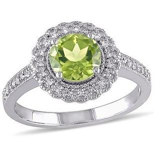 Amour Sterling Silver Peridot And 16 Ct Tdw Diamond Ring G-h I2-i3