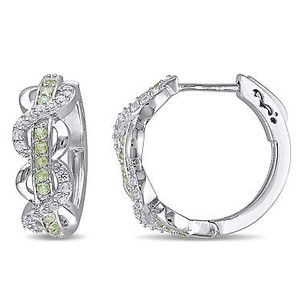 Amour Sterling Silver Peridot And Created White Sapphire Earrings