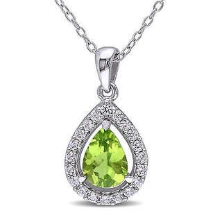 Amour Sterling Silver Peridot And White Sapphire Teardrop Halo Pendant Necklace 18