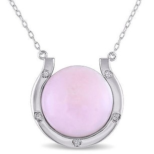 Amour Sterling Silver Pink Opal And Diamond Accent Pendant Necklace 16