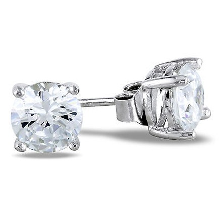 Amour Sterling Silver Round White Cz Cubic Zirconia Solitaire Stud Earrings Ct Tw