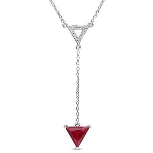 Amour Sterling Silver Ruby And 110 Ct Tdw Diamond Triangle Pendant Necklace H-i 18
