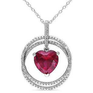 Amour Sterling Silver Ruby And 110 Ct Tw Diamond Heart Pendant Necklace H-i I2-i3 18