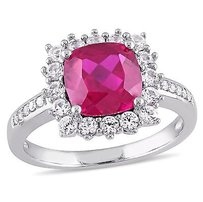 Amour Sterling Silver Ruby White Sapphire And Diamond Accent Halo Cocktail Ring