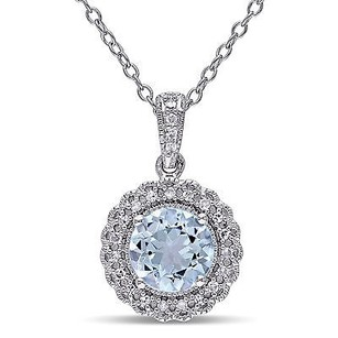 Amour Sterling Silver Sky Blue Topaz 110 Ct Tdw Diamond Halo Pendant Necklace 18