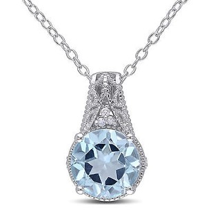 Amour Sterling Silver Sky Blue Topaz And Diamond Accent Pendant Necklace 18