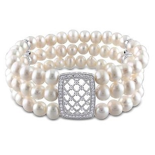 Amour Sterling Silver Strand Freshwater Pearl Cubic Zirconia Stretch Bracelet 6-7 Mm