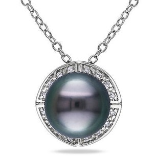 Amour Sterling Silver Tahitian Pearl And Diamond Accent Pendant Necklace 18