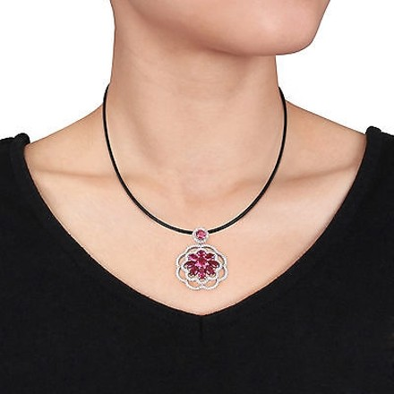 Amour Sterling Silver White Red Cz Flower Pendant Necklace 24 Leather Cord