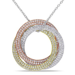 Amour White Yellow And Pink Silver Created White Sapphire Circle Pendant Necklace 18