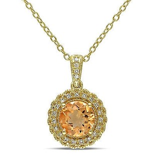 Amour Yellow Silver Citrine And 110 Ct Tdw Diamond Pendant Necklace G-h I2-i3 18