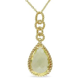 Amour Yellow Sterling Silver Ct Tgw Lemon Quartz Drop Pendant Necklace 18