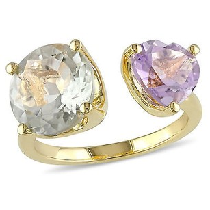 Amour Yellow Sterling Silver Green Amethyst And Rose De France Heart Ring