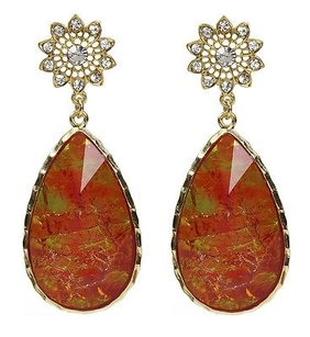 Amrita Singh Amrita Singh Cassia Winter Real Housewives Lava Red Resin Earrings Erc 90