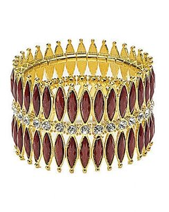 Amrita Singh Amrita Singh Gold Ruby Red Crystal Shearwater Wide Stretch Bracelet Brc 113