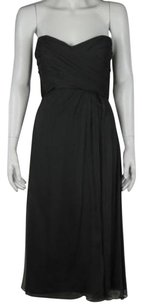 Amsale Womens Strapless Sheath Formal Silk Below Knee Ruffle Dress