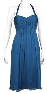 Amsale Womens Solid Sleeveless 100 Silk Sheath Above Knee Dress