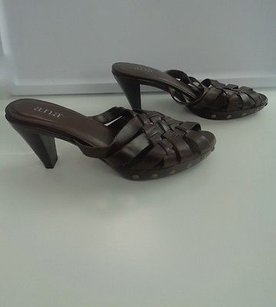 a.n.a. a new approach Chocolate Leather Woven Peep Toe Slip On Pump B2895 Brown Sandals