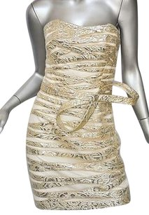 Angel Sanchez Tulle Gold Silver Bustier Strapless Brocade Bow Gown Dress