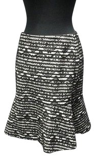 Ann Taylor Lace Back Zip Career Lined Flare Hem Sma 9731 Skirt black, white