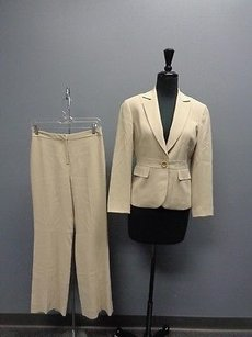 Ann Taylor Ann Taylor Beige One Button Lined Triacetate Pants Suit 0 Sma1965