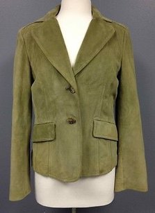 Ann Taylor Ann Taylor Green Suede Lined Pocket Long Sleeve Button Blazer Sm3048