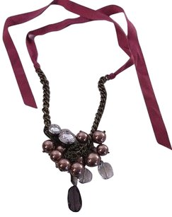 Ann Taylor Ann Taylor Loft Pink Ribbon Bauble Crystal Link Chain Necklace