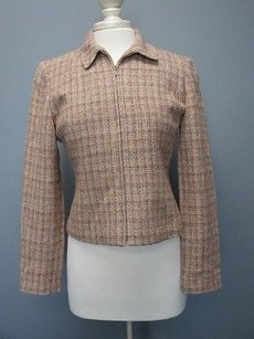Ann Taylor Ann Taylor Tan Brown Olive Silk Long Sleeve Full Zip Lined Blazer Sm1856